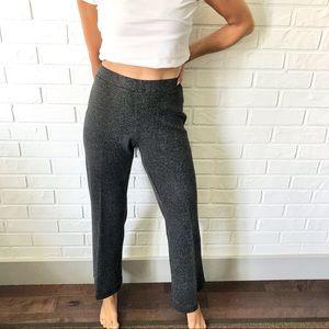 Vintage black white tweed pull on flare trouser